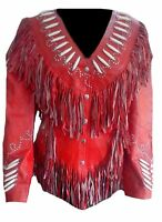 Vipzi Western Women's Red Cowhide Leather Jacket with Fringe and bone ALL SIZE