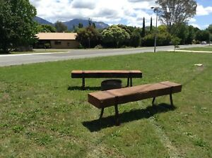 Fire Pit Bench Seats Industrial Recycled Wharf Timbers $750 each