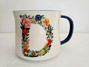Nathalie Lete Anthropologie Letter D Coffee Cup Mug Floral Blue White Cat