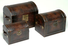 Set of 3 Faux Croc Leather Storage Trunks / Cases