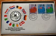 EEC 1973 Medallic FIrst Day Cover Feat John Pinches Sterling Silver Medal Boxed#