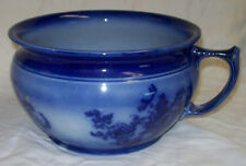 Antique Flow Blue Chamber Pot With Rose Design