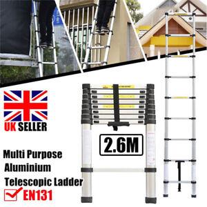 2.6M Extendable Aluminium Ladders Telescopic 9 Steps Loft Ladder  Extension DIY