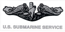 OUTSIDE STICKER - U.S. NAVY SUBMARINE DOLPHINS - SILVER
