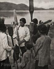 1929 TAIWAN Vintage Photogravure MUSIC KABAN TRIBE Ethnic Millet Crushers GRAEFE