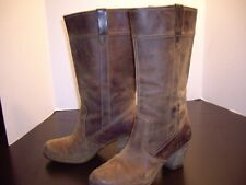 """TIMBERLAND BROWN LEATHER BOOTS SZ 9.5 LEATHER BOOTS WATERPROOF -  3"""" HEEL, 14.25"""