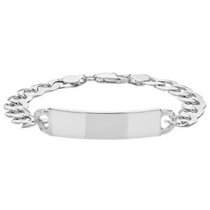 """925 Sterling Silver Gents Mens Open Flat Curb ID Bracelet 8.5"""" FREE ENGRAVING"""