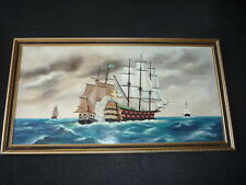 Large Original Seascape Nautical Ships Oil Painting on Board - A.J. Wiseman 1976