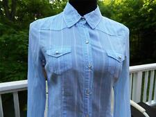 Abercrombie & Fitch Tailored Cotton Blue Striped Fitted Button Down Shirt, Sz 7
