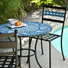 Bistro Set Outdoor Patio Furniture Mosaic Table Chairs Blue Tiles Wrought Iron