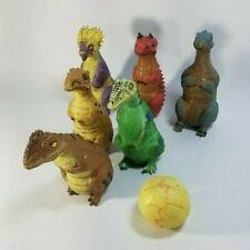 Disney's Dinoland Bowling Set of 6 Rubber Dino Pins & Dinosaur Egg Ball *RARE*