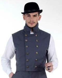 Men's Herschel Grey Vest Steampunk, High quality hand crafted one by one COOL!!
