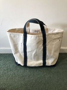Vintage 80s LL BEAN Boat And Tote Canvas Tote Bag XL Blue Handles Made in USA