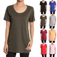 TheMogan Womens Round Neck Short Sleeve Plain Cotton Loose Fit Boxy T-shirt Tee