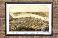 Vintage Port Huron, MI Map 1867 - Historic Michigan Art Old Victorian Industrial