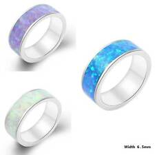 6.5mm Multicolor Fire Opal Stackable Eternity Ring 925Silver Band Ring For Women