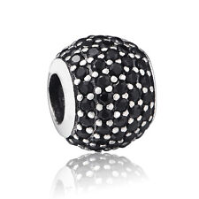 Silver Charm Bead Crystals Pave Fit Authentic 925 Sterling 3mm European Bracelet