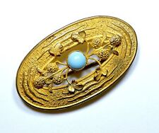 Glass Sash Brooch Pin Fe17516 Victorian Clover Flowers and Turquoise