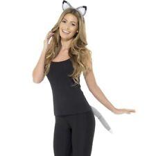 Lobo Animal Adulto Sofisticado Vestido Set Orejas en Diadema & Kit De Cola Gris por Smiffys