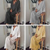 Plus Size Womens Boho Casual Cotton Linen Kaftan Maxi Dress Loose Baggy Sundress