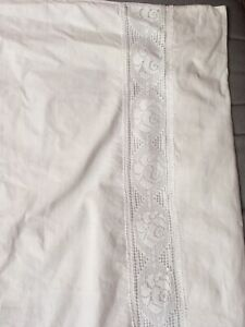 ANTIQUE VINTAGE RETRO EMBROIDERED LARGE WHITE PILLOWCASE 100% COTTON