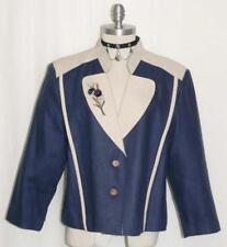 LINEN ~ BLUE German Women SUMMER FLOWERS Dress Suit JACKET Coat Blazer 44 16 L