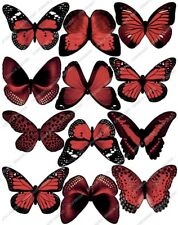 Cakeshop 12 x PRE-CUT Red Edible Butterfly Cake Toppers