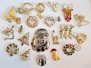 LARGE Vintage Mod Christmas Brooch LOT JJ Danecraft AJC Gerrys AAI Gigi