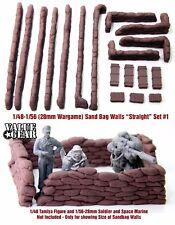 """1/48 - 1/56 (28mm Wargame) Sandbag Walls Set #1 """"Straight"""" - Value Gear Resin"""