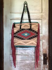 Indian Rug Saddle Blanket Rodeo Cowgirl Purse Long Leather Red Fringe