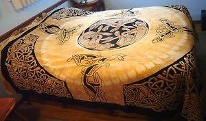 Handwoven Bed Spread Coverlet India Cotton Egyptian Tribal Dog Cat Blanket Full