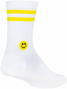 SockGuy SGX Smiley Socks - 6 inch, White/Yellow, Small/Medium