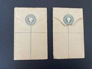 Postal History Mauritius 2 Unused QV Registered Envelopes 8cents & 12 cents