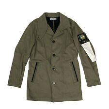 NWT STONE ISLAND Green '43531 Raso Gommato Flock' Trench Coat Size S $860