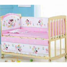 5Pcs Mickey Mouse Baby Crib Bed Bumper 100% Cotton Newborns Bedding set Washable