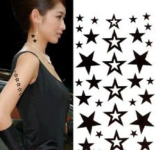 FD965 Removable Waterproof Temporary Tattoo Body Stickers ~Black Stars~ 1pc