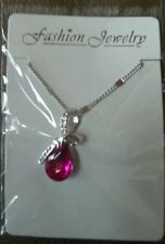 18K WHITE GOLD PLATE NECKLACE WITH SWAROVSKI CRYSTAL ELEMENTS PINK BRAND NEW