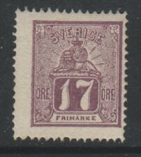 Sweden - 1866, 17 ore Purple stamp - Perf 14 - MNH - SG 13