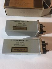 Western Electric NOS 2uf 2mf 600V DC capacitor , Pair sealed package