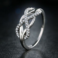 Infinity Wedding Rings for Women 925 Silver Jewelry White Sapphire Size 6-10