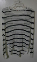 Women's Knit Top/Jumper Size S Temt Navy & Cream Stripe Long Sleeve Stretch
