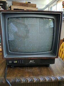 "Vintage Zenith Space Command 13"" Color CRT TV Wood Grain Retro Gamer No Remote"
