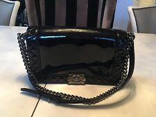 CHANEL BLACK PATENT LEATHER BAG MINT CONDITION CARD OF AUTHENTICITY