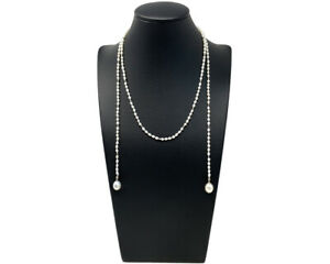 A Stunning Freshwater Pearl Lariat Necklace With Diamond Cut Micro Beads