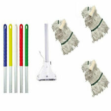 More details for kentucky metal mop handle with metal clip and 3 mop heads - colour red