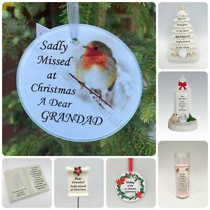 Grandad Christmas Memorial Tributes - Xmas Tree Robin Bauble Candle Book Plaque