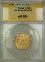 1887-A Germany-Prussia 20M Twenty Marks Gold Coin ANACS AU-55