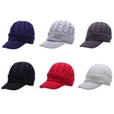 d04259a3 Winter Ski Duck Visor Cap Wool Knit Fleece Warmer Fashion Men Hat 6 Colors