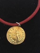 "Aureus Of Otho Coin WC66 Gold Fine English Pewter On a 18"" Red Cord Necklace"