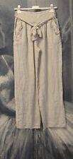 Lagenlook Italian Linen Boho Loose Fit Trousers Size M 10 12